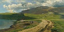 Schirm, Carl Coven: Gewitterstimmung am Loch Assynt im schottischen Hochgebirge