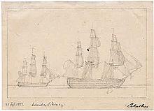 Eckersberg, Christoffer Wilhelm: Skizze von zwei Dreimastern