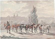 Kriehuber, Josef: Pferdeherde auf der Chaussee vor einer Stadt