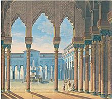 Deutsch: 19. Jh. Blick in den Patio de los Leones des Nasridenpalastes der Alhambra
