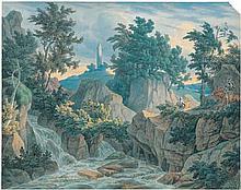 Deutsch: um 1840. Zwei Ritter zu Pferd im Gebirge