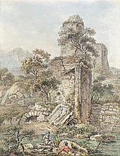 Dunker, Balthasar Anton: Spielende Knaben an einem Flussufer