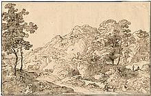 Genoels, Abraham: Gebirgige Landschaft mit Bäumen und Staffage