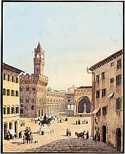 Deutsch: 1840. Ansicht der Piazza della Signora in Florenz mit dem Palazzo Vecchio und den Uffizien