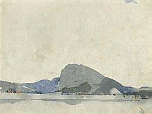 Deutsch: 19. Jh. Blick über einen See mit Bergkette