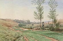 Mohn, Victor Paul: Sommerliche Landschaft am Bach, im Hintergrund ein Dorf