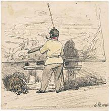 Hildebrandt, Eduard: Maler mit der Palette vor der Staffelei, links ein liegender Hund
