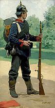 Werner, Anton von: Musketier mit Marschgepäck in Parklandschaft