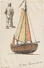 Blache, Christian Vigilius: Fischerboot mit Studie eines Fischers