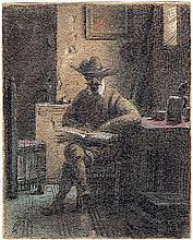 Hosemann, Theodor: Don Quichotte in seinem Studierzimmer