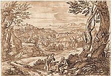 Onofri, Crescenzio: Zwei Rastende in einer Landschaft mit Blick auf eine Stadt
