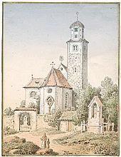 Adam, Heinrich: Ansicht einer Feldsteinkirche zwischen Bäumen