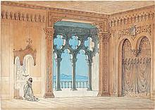 Hansen, Constantin: Edeldame in Andacht vor dem hausaltar in einem italienischen Palazzo