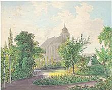 Gurk, Eduard: Blick auf die Kirche St. Jakob in Penzing in Wien