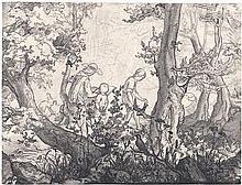 Müller, Carl Wilhelm: Waldpartie mit Zeichner