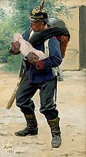 Werner, Anton von: Musketier mit Säugling auf dem Arm