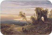 Lebas, Gabriel-Hippolyte: Südliche Landschaft im Abendlicht