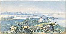 Giallina, Angelos: Blick auf Korfu mit dem Achilleion