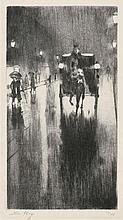 Ury, Lesser: Pferdedroschke im Regenwetter