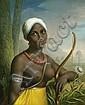 Deutsch, um 1835: Schwarze Amazone mit Cigarillo