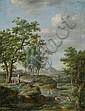 Französisch, um 1790: Arkadische Landschaft mit badenden Frauen