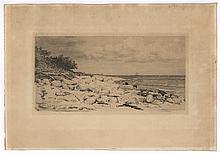 Bloch, Carl: Ansicht eines Küstenstrichs mit Steinfelsen