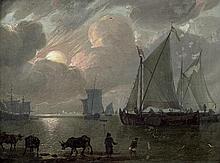 Verschuir, Lieve Pietersz.: Küstenlandschaft mit Segelschiffen bei Sonnenuntergang