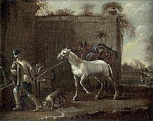 Wouwerman, Philips: zugeschrieben. Mann mit seinem Schimmel an einer Tränke