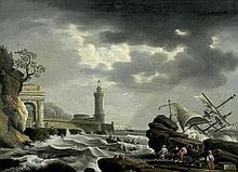 Vernet, Claude Joseph: Nachfolge. Gekenterter Dreimaster in stürmischer See vor einem Hafen