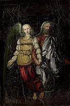 Italienisch: um 1700. Ein Engel leitet einen Apostel