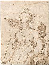 Goltzius, Hendrick: Schule. Juno mit dem Pfau