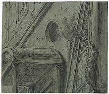 Bramer, Leonaert: Männliche Figur an einer italienischen Kirchenfassede hinaufkletternd