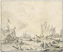 Capelle, Jan van de: Segelschiffe am Ufer