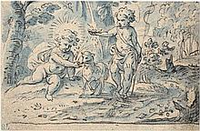 Brentel d. J., Hans Friedrich - zugeschrieben: Landschaft mit Christus und dem Johannesknaben mit Lamm
