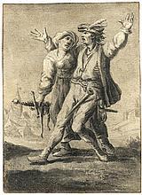Flämisch: 17. Jh. Landesknecht mit Marketenderin