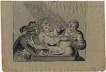 Bramer, Leonaert: Nachtmahl mit einem Paar und Edelmann bei Kerzenschein