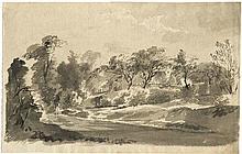Klinsky, Johann Gottfried: Sächsische Landschaft mit Bauernhäusern