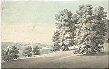 Dresdener Schule: um 1830. Blick in das Elbtal