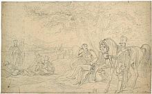 Adam, Albrecht: Campierende Soldaten in einer Landschaft