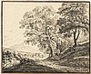 Schaeffer, Carl Albert Eugen: Landschaft mit Pappeln und einem Kirchdorf
