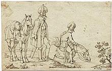 Adam, Albrecht: Zwei bayrische Kavalleristen am Flussufer