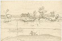 Wittmer, Johann Michael: Blick über den Tiber auf Rom mit Porta S. Paolo