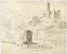 Deutsch: um 1840. Il Castello di Borghetto bei Civita Castellana
