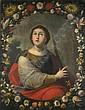 Spanisch, 17. Jh.: Die hl. Barbara in einer Blumengirlande