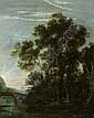 Ruisdael, Jacob van - Umkreis: Flußlandschaft mit hohen Bäumen bei einer Brücke