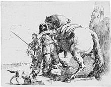 Tiepolo, Giovanni Battista: Varj Capricci: Drei Soldaten und ein Junge; Nymphe mit kleinem Satyr und zwei Ziegen; Der Reiter neben seinem Pferd stehend