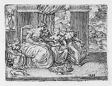 Angolo, Giovanni Battista d': Eine Gruppe von Frauen in einem Interieur bei der Handarbeit