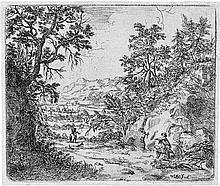 Bemmel, Willem van: Kleine Landschaft mit zwei malern im Vordergrund