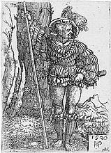Beham, Hans Sebald: Ein Landsknecht, neben einem Baum stehend