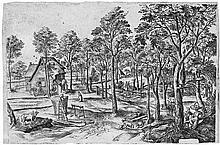 Flämisch: um 1560. Weite, baumbestandene Landschaft mit Bauernhäusern und figürlicher Staffage